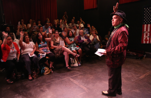 A packed house at Teatro Sin Fronteras #3 at Old Marquer Theatre. Photo by Craig Morse.